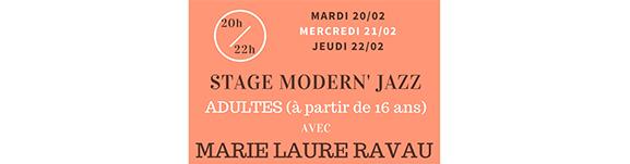 Stage MODERN' JAZZ Adultes (à partir de 16 ans) avec Marie Laure RAVAU